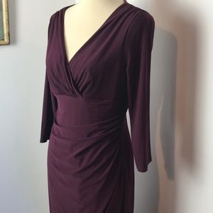 Lauren Ralph Lauren Merlot Wrap Dress NWT 12
